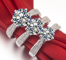 Luxury jewelry 3 Carat sona Simulated Gem engagemen rings for women,  White Gold Color Wedding ring,silver rings