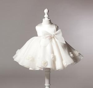 Белое платье для малышей; кружевное платье для крещения с бантом; платье для крещения для малышей; праздничное платье принцессы для новорож...