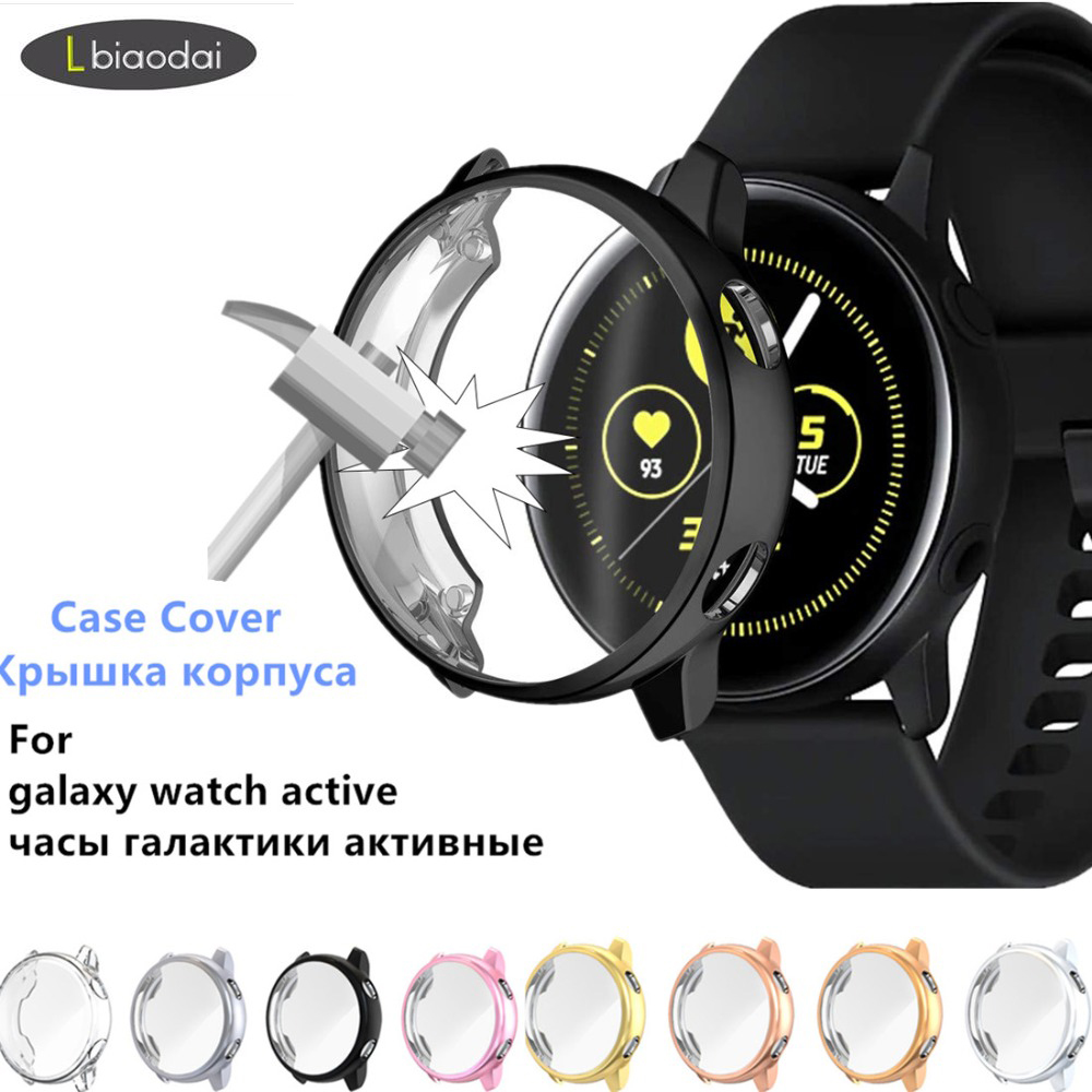 Case For Samsung galaxy watch active case cover bumper Screen Protector Full coverage silicone Protection