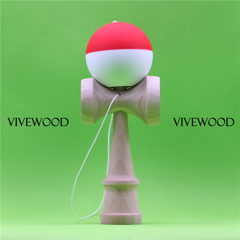 Rubbe Kendama in Red/White Half Spilt design,18CM Kendama with New Beech 2.0 Ken and 22MM Bevel TAMA,VIVEWOOD durable Kendama