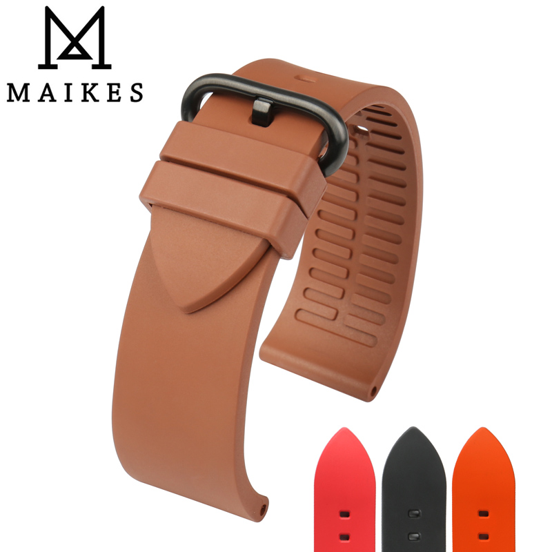 MAIKES Watch Accessories Sport Watch Strap 20mm 22mm 24mm Diver's Watchband Brown Fluoro Rubber Watch Band For Fossil Watch