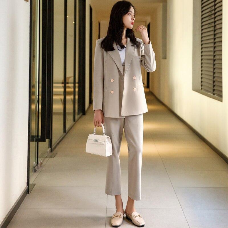 High End Casual Women's Korean Fashion Temperament Versatile Simple Receipts Waist Slim British Wind Professional Wear Two-piece