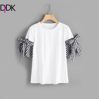 DIDK Gingham Cuff T Shirt With Plaid Bow Detail 2017 Women Summer White Short Sleeve Round