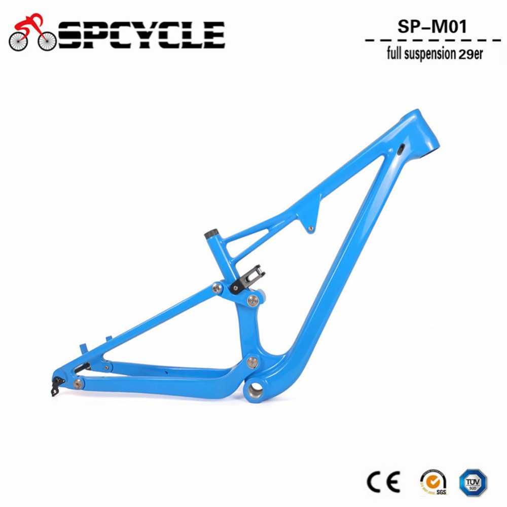 Spcycle 29er Full Suspension Carbon Frame, Carbon MTB Frame 29er Mountain Bike Carbon Frame 142*12mm Thru Axle 165*38mm Travel 2017 new cheap carbon frame t800 3k full carbon mtb frame 29er for thru axle carbon mountain bikes frame 29 free shipping