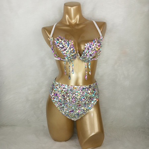 Image 1 - סמבה קרנבל חזייה גבוהה מותניים מכנסיים AB צבע אבן יד 2 חתיכה