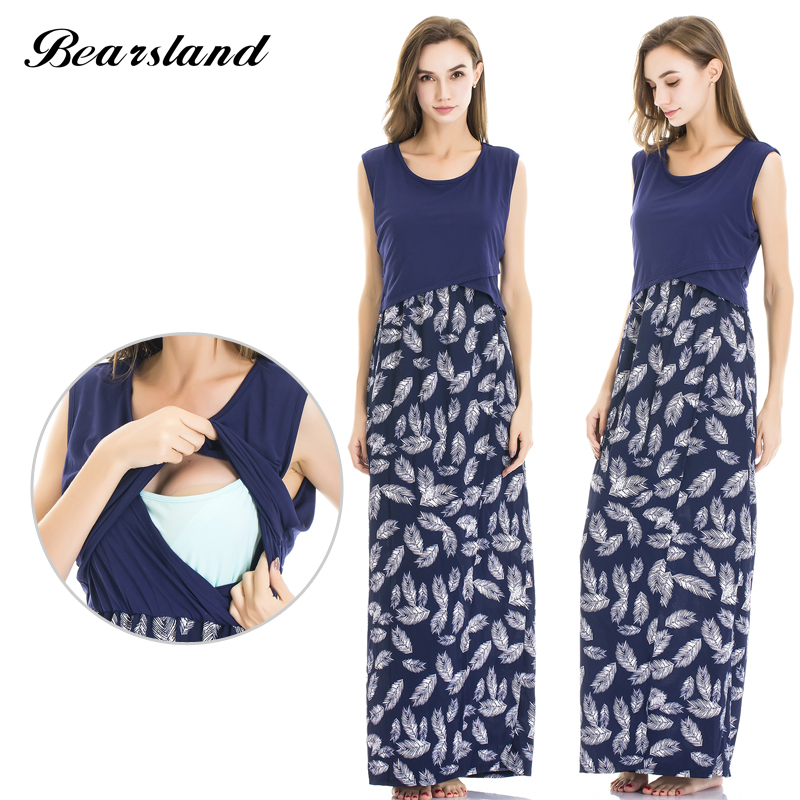 Bearsland Womens Maternity Long Style Pregnant Clothes Breastfeeding and Nursing Dress