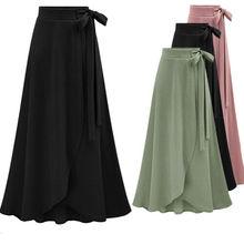 Плюс размер Стильная дизайнерская женская осенняя Асимметричная однотонная длинная юбка с разрезом женская повседневная юбка миди M-6XL