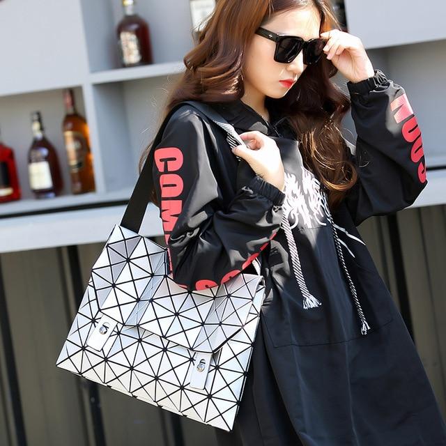 fashion pvc women shoulder bags women clutches diamond lattice bag for teenager girls hot geometric folded baobao bag handbags