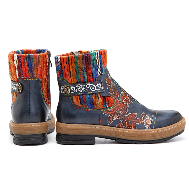 Botas Schuhe Aus Zipper Frau Echtem Blau Neue Socofy Rohr Stiefel Frauen Leder Knöchel Wolle Mujer Gestrickte Vintage Boot Herbst Böhmischen wXBgqaY