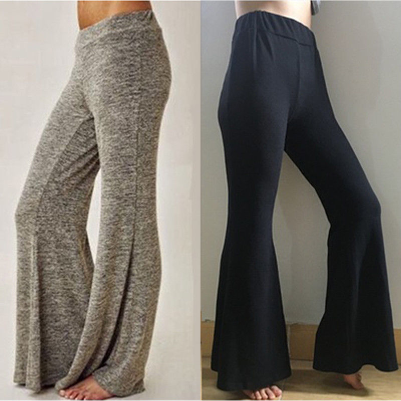 2018 ITFABS Newest Arrivals Fashion Hot Women Casual Long   Pants   Ladies Female High Waist Loose Stretch Baggy   Wide     Leg     Pants   Plus