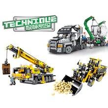 Technic Engineering грузовой автотранспорт Экскаватор Бульдозер гусеничный кран строительные блоки, совместимые Конструктор Город игрушки для детей подарок