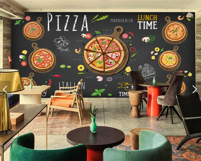 Custom 3d mural hand painted blackboard mural pizza shop children's room KTV Cafe Restaurant TV background pizza wallpaper mural itech pm2t черный