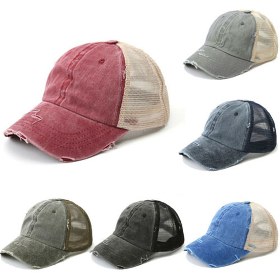 Hat Snapback-Caps Baseball-Cap Trucker Distressed Outdoor Denim Mesh Adjustable Vintage