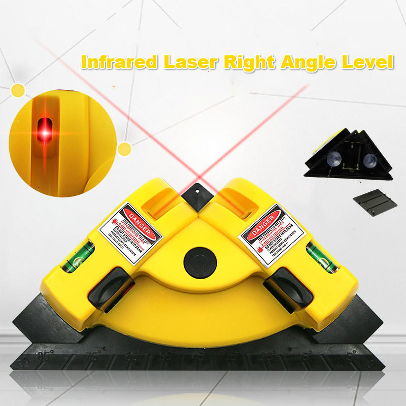 Right Angle Infrared Level, Laser Line Projection Square Level Right Angle 90 Degree Measure Tool, Ceramic Tile Earth Wire Meter