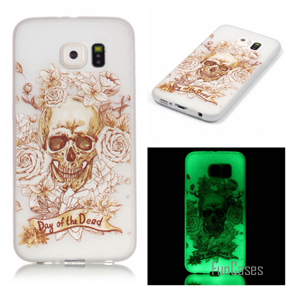 New Fashion Luminous night Slim phone Cases for Samsung Galaxy S6 G9200 Fluorescence Soft TPU Silicon back cover skin
