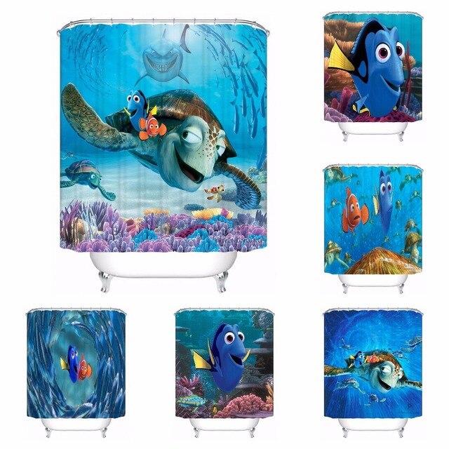Custom Waterproof Shower Curtain Finding Nemo Printed Bathroom Decor Various Sizes 180324 01 06