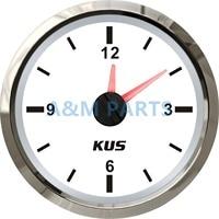 KUS Boat Car RV Marinha Relógio de Quartzo Hour Medidor de Cara Branca Dial 12 Hora 12 V/24 V dial dial clock dial gauge -