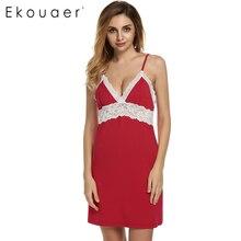 Ekouaer марка весна осень ночной рубашке женщин сексуальный спагетти ремень кружево лоскутное платье женское белье пижамы трусы размер s-xl(China (Mainland))