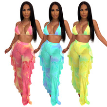 2019 new women tie dye galaxy print mesh see though halter bra top ruffles side splicing pants suit two piece set tracksuit 3771