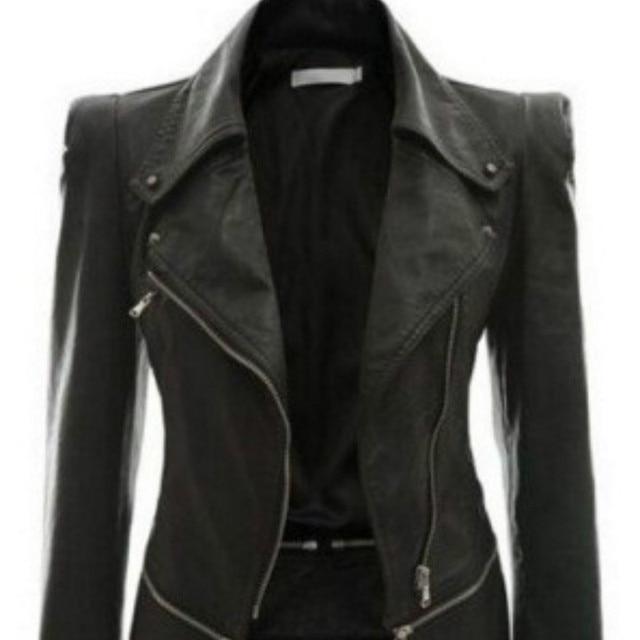 2018 Autumn Women faux Leather Jacket Gothic Black moto jacket Zippers Long sleeve Goth Female PU Faux Leather Jackets 2
