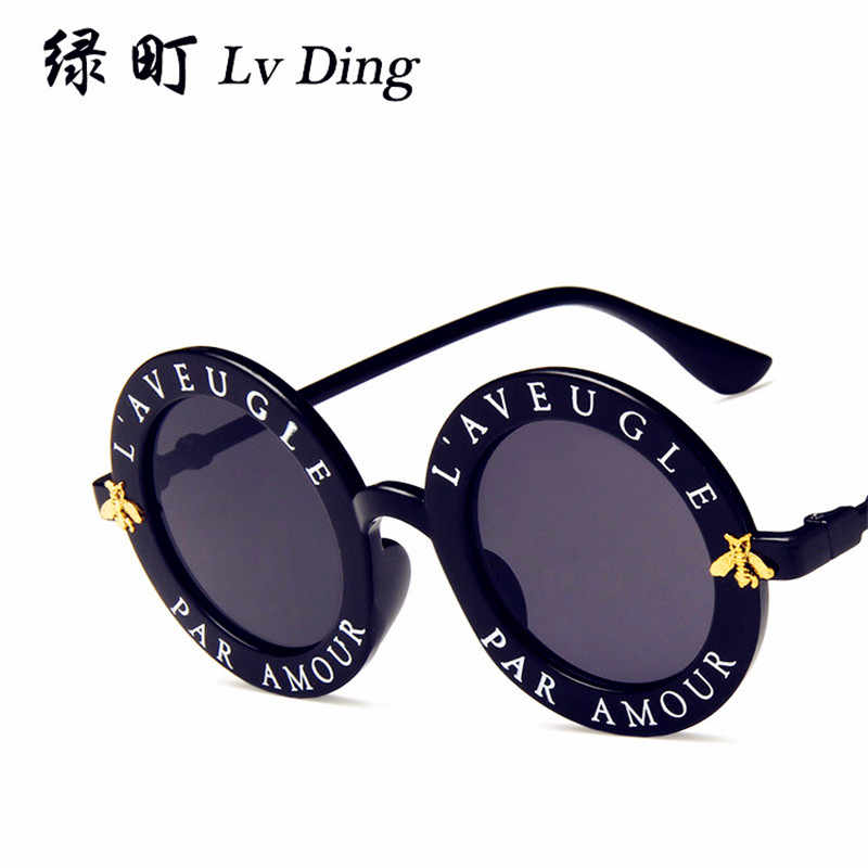 e7238d53f8 NULL Zonnebril Dames Gafas 2019 New Trend Vintage Letter Round Frame  Sunglasses Hipster Star with the