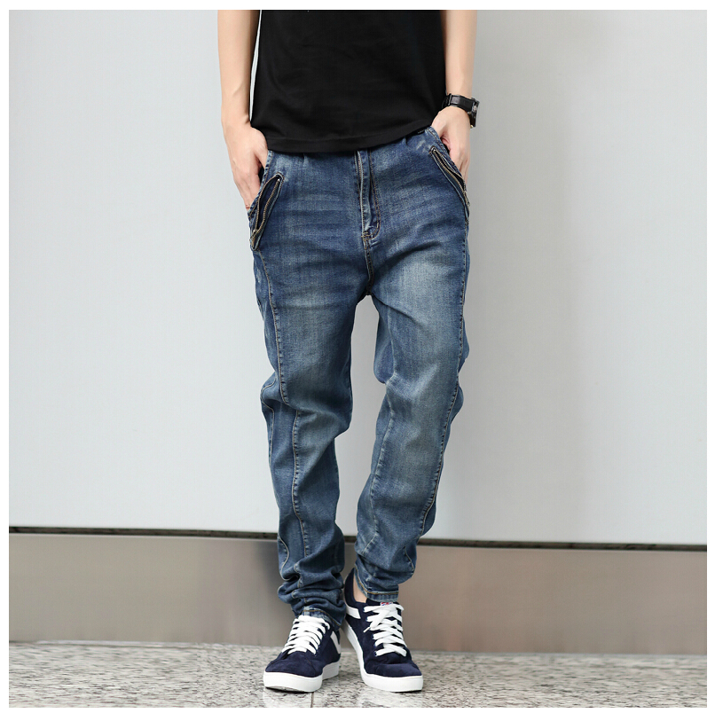 ФОТО NEW Men's Clothing Stretch Denim Joggers Jeans Men Outdoor sports Cotton Loose Jeans Harem Pants Plus Size Tapered Pants