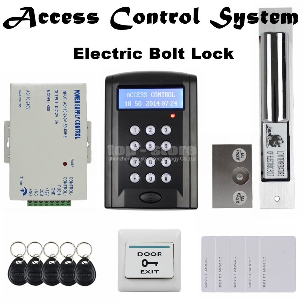 DIYSECUR LCD 125KHz RFID Reader Password Keypad Access Control Door Lock System Kit + Electric Bolt Lock Security System BC200