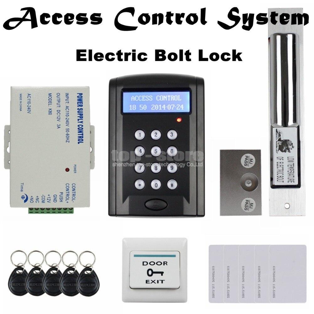 DIYSECUR LCD 125KHz RFID Reader Password Keypad Access Control Door Lock System Kit + Electric Bolt Lock Security System BC200