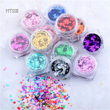 Mtssii Round Mirror Nail Ultrathin Sequins Colorful Decoration Set 1g Gold Dust Manicure Nail Art Glitter Chrome Powder Tips