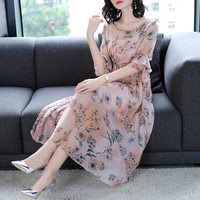 Imitate Real Silk Dress Sweet Women Clothes 2018 New Summer Dresses Fashion Loose Office Lady Casual Printing Costume