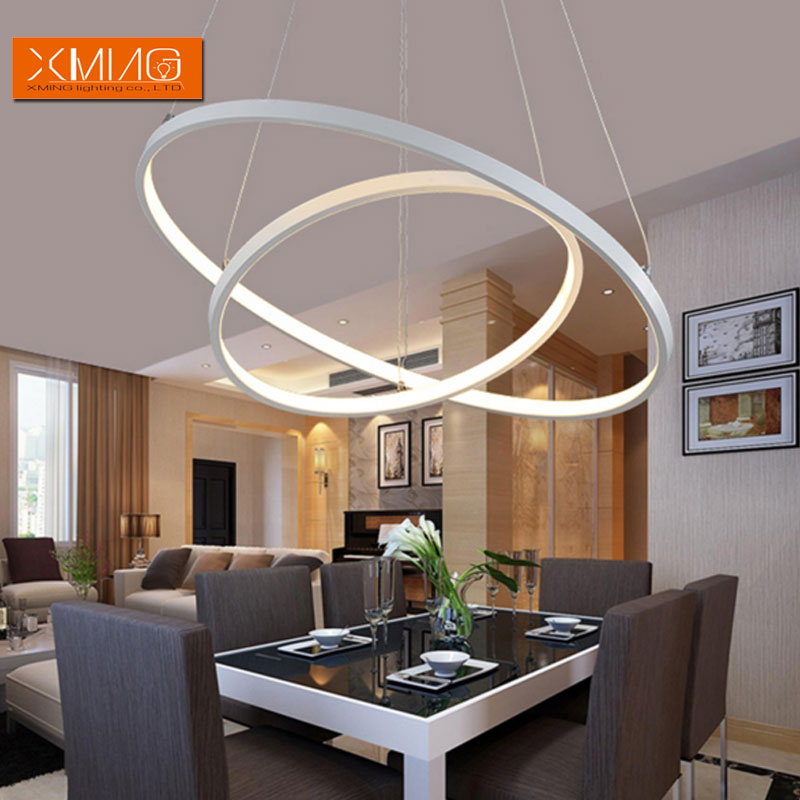Remote control modern led pendant lights 3 ring acrylic lamp shade remote control modern led pendant lights 3 ring acrylic lamp shade for dining room living room hanging light in pendant lights from lights lighting on aloadofball Gallery