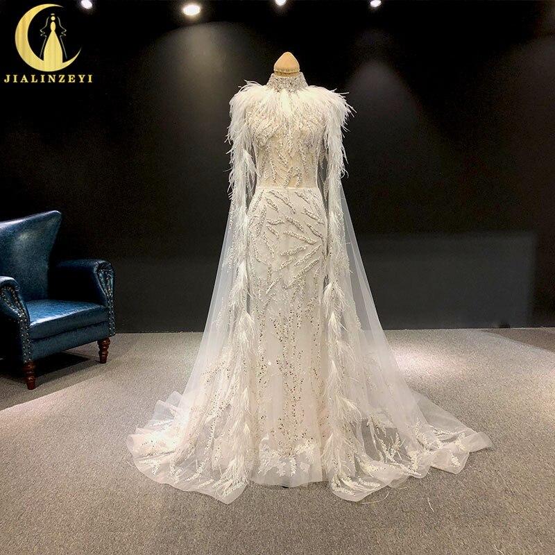 JIALINZEYI Sexy Zuhair Murad haut cou perles avec plumes sirène Cape luxueux mariée robe de mariée robe de mariée