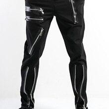 S-6XL, большие размеры, Мужские штаны, мужские повседневные штаны, индивидуальная тренд, брюки на молнии, мужские облегающие брюки, одежда певицы