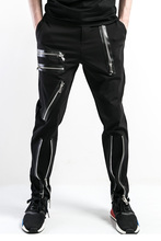 2017 Big yards men's pants Male casual pants personality trend of the zipper trousers male slim h The singer's clothing