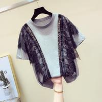 Korean Tshirt Ladies 2019 Summer Fashion Black Lace Stitching Lotus Leaf Edge Short Sleeve T shirt Women's Personality Jacket