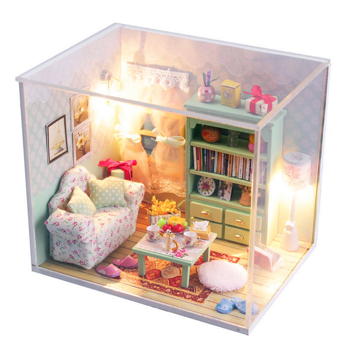 Hoomeda diy mini dream house wood dollhouse miniature with for Dream house days furniture