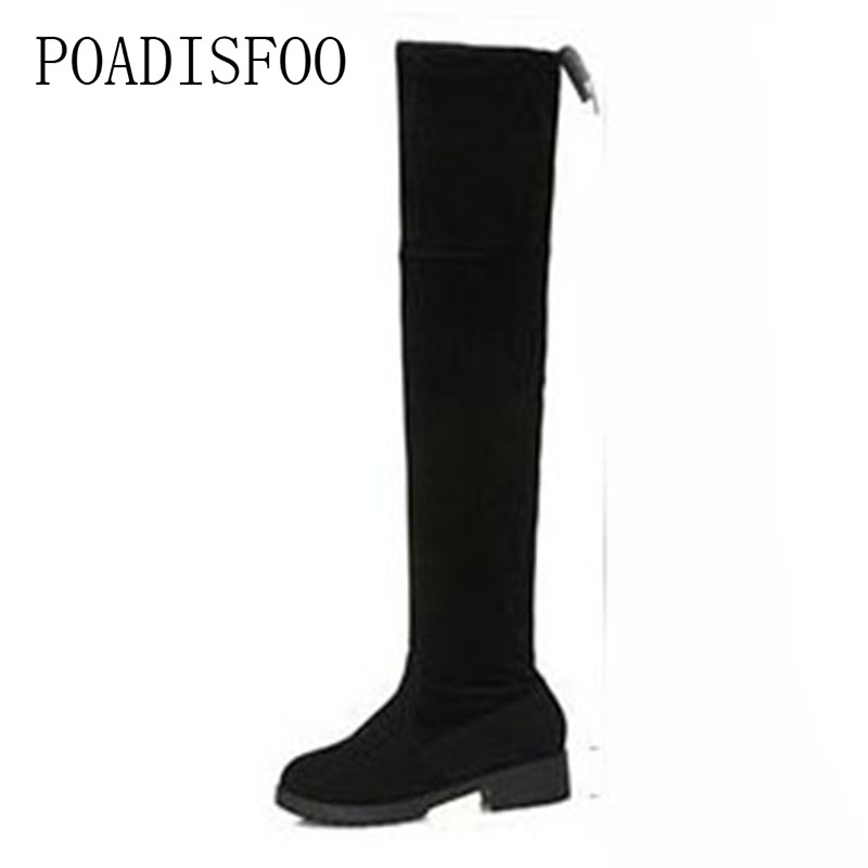 ea598938fbf POADISFOO-Small-Peppers-With-The-Round-Head-Low-Heel-Over-Knee -Boots-Elastic-Boots-Super-Thin.jpg