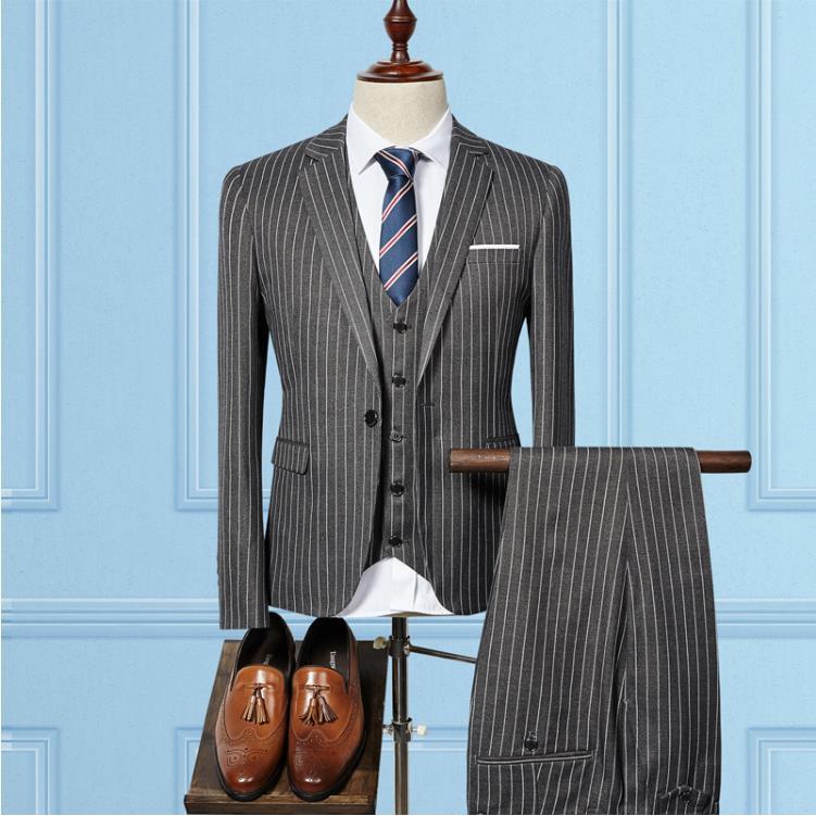 Jacket Vest Pants 2019 High Quality Men Suits Fashion Wool Men 39 s Custom Slim Fit Business Wedding Suit Men Wedding 3 Pieces Suit in Suits from Men 39 s Clothing