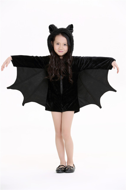 Baby Child Animal Cosplay Cute Bat Costume Kids Halloween Costumes For Girls Black Zipper Jumpsuit Connect Wings Batman Clothes