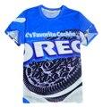 2015 del verano del estilo mujeres / hombres leches favoritas OREO cookies 3d camiseta Harajuku t-shirt camiseta Tops más el tamaño M-XXL camisetas