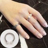ROCKART Authentische 925 Sterling Silber Retro Natürlichen Süßwasser-perle Offenen Ring Für Frauen Geschenk Edlen Schmuck Einstellbare Großhandel