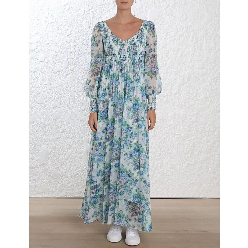 Floreale Stampato il Vestito Delle Donne 100% di Seta Del Manicotto Della Lanterna Con Scollo A V A Pieghe midi Dress-in Abiti da Abbigliamento da donna su  Gruppo 1