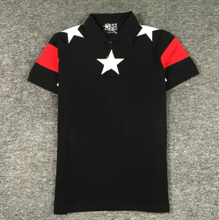 High New Novelty 2017 Men High Embroidery Star Fashion Polo Shirts Shirt Hip Hop Skateboard Cotton Polos Top Tee S 2XL #B68