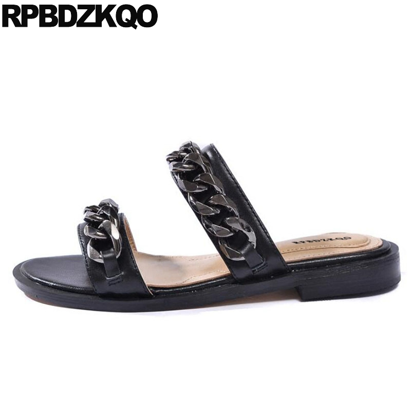 Large Size Genuine Leather Strap Slip On Black Flat Wide Fit Summer Chain Slides Designer Sandals Women Luxury 2017 Shoes Soft timetang mother sandals soft leather large size flat sandals summer casual comfortable non slip in the elderly women s shoes
