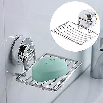 Metal Strong Suction Bathroom Chrome Sink Soap Dispenser Tray Dish Holder Shower Stainless Steel Wall Mounted Shampoo In Storage Holders Racks From