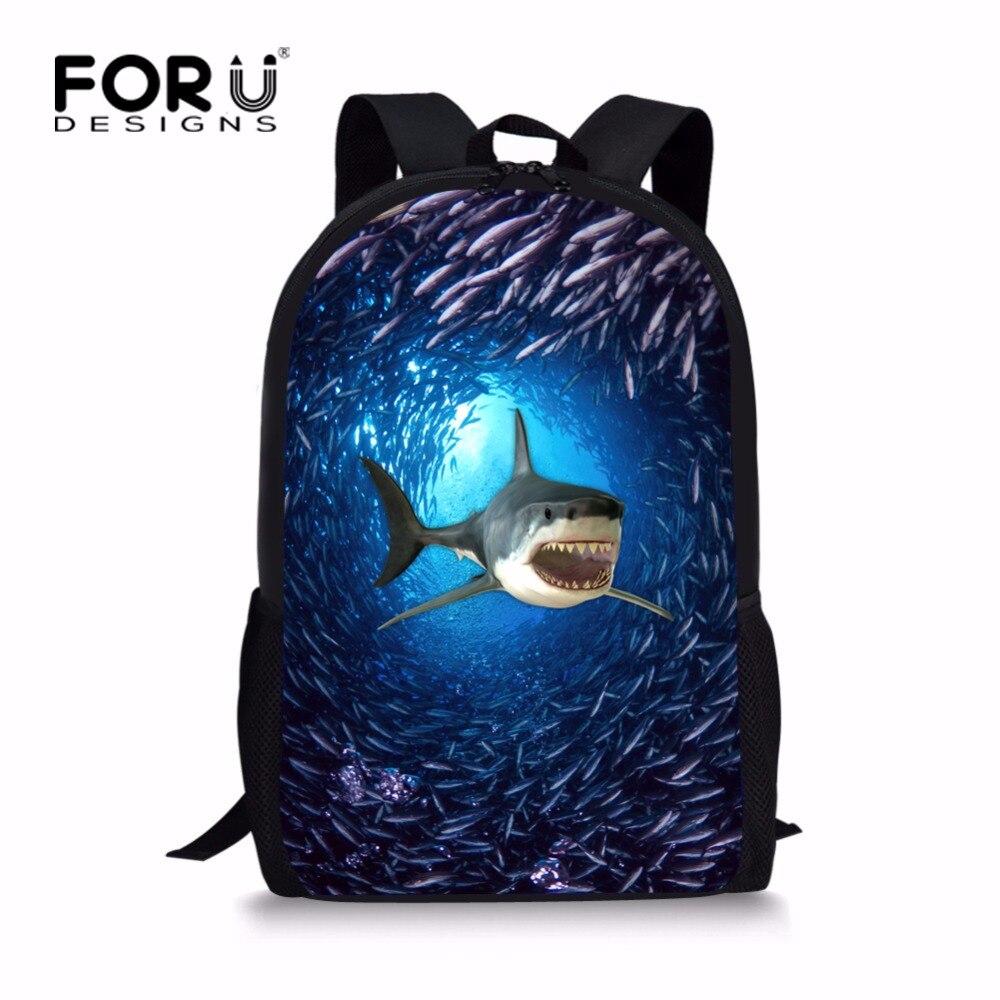 FORUDESIGNS Blue Primary Girls Boys Animal Shark Dolphin Backpack Cool High School Children Kids Bagpack Personalized Knapsack