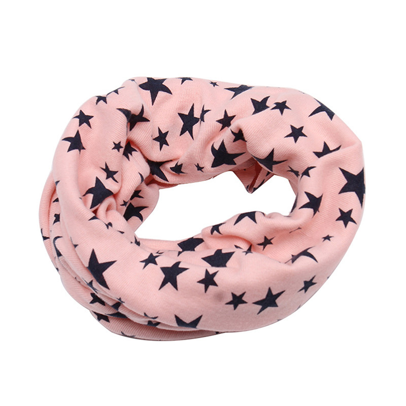 Autumn Winter Outdoor Neck Warmer O Ring Scarf For Kids Baby Cotton Neck Scarf Cute Star Print Children Warm Scarf Kids Collar