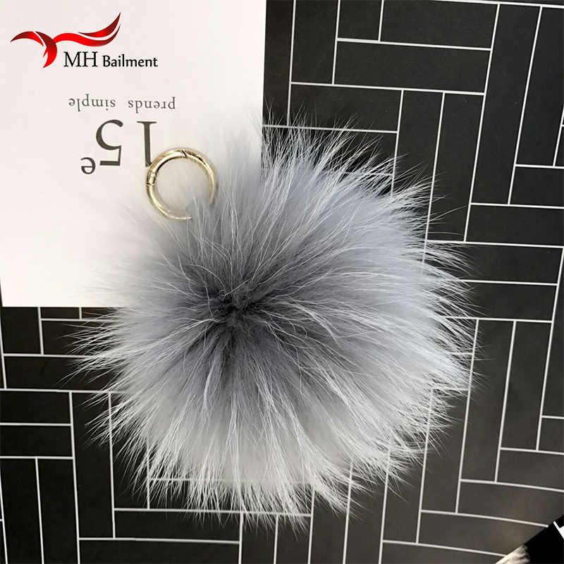 15 cm Fluffy Raccoon Fur Bola Chaveiro Chaveiro De Pele Pom Pom Pompons de Metal Da Corrente Chave Chaveiro Charme Saco de Presentes Pingente de Gás embalagem