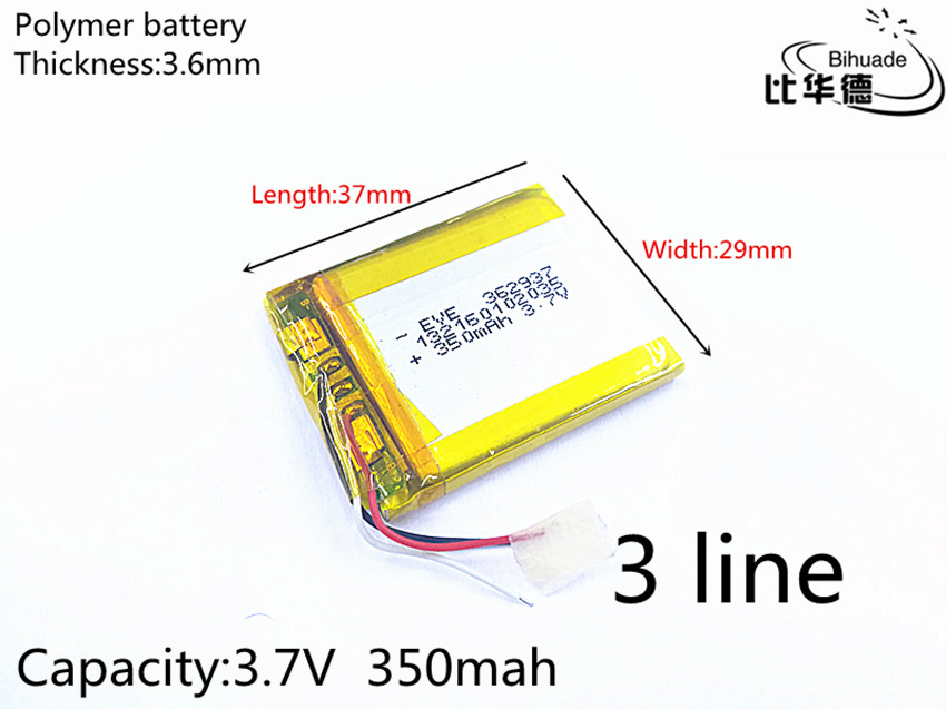 Free shipping 1pcs/lot 3 line 3.7V 350mAh 362937 Lithium Polymer Li-Po li ion Rechargeable Battery cells For Mp3 MP4 MP5 GPS PSP fedex free shipping 100pcs lot lithium ion polymer battery 2000mah 3 7v li ion rechargeable battery pack with bms for tablet pc