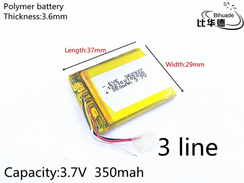 Free Shipping 1pcs/lot 3 Line 3.7V 350mAh 362937 Lithium Polymer Li-Po Li Ion Rechargeable Battery Cells For Mp3 MP4 MP5 GPS PSP